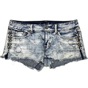 Acid Wash Denim Cutoffs Studded American Eagle